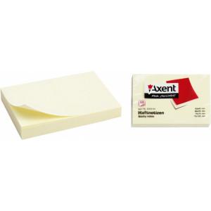 Блок стикеров 50 х 75 мм 100 шт Axent пастельный желтый (2312-01-A)
