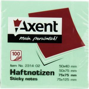 Блок стикеров 75 х 75 мм 100 шт Axent пастельный цвет, зеленый (2314-02-A)