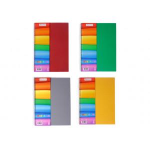 Блокнот А4 80 л клетка на спирали сбоку Rainbow (O20342)