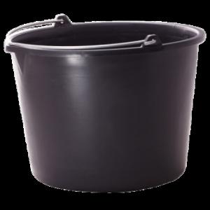Ведро пластиковое 12 литров (круглое, с носиком) (черное)