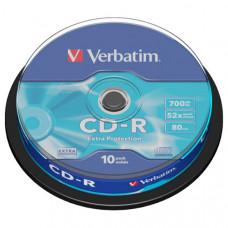 Диск CD-R 10 шт Cake box VERBATIM, 700Mb/80min/52x (43437)