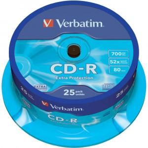 Диск CD-R 25 шт Cake box VERBATIM, 700Mb/80min/52x (43432)