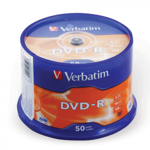 Диск DVD-R 50 шт Cake box VERBATIM, 4.7 GB/120 min 16x (43548)