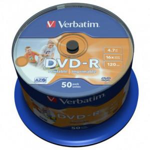 Диск DVD-R 50 шт Cake box VERBATIM Printable 4.7 GB/120 min 16x (43533)