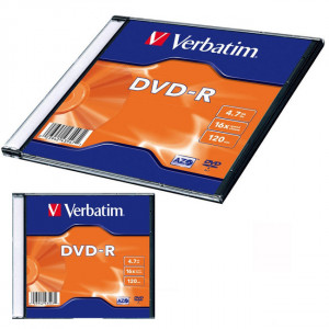 Диск DVD-R 1 шт Slim VERBATIM, 4.7 GB/120 min 16x (43547)