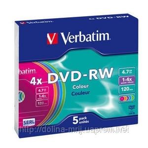 Диск DVD-RW 1 шт Slim VERBATIM, 4.7 GB/120 min 4x