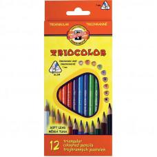 Карандаши цветные 12 цв х 12 шт Koh-I-Noor Triocolor трехгранные (3132)