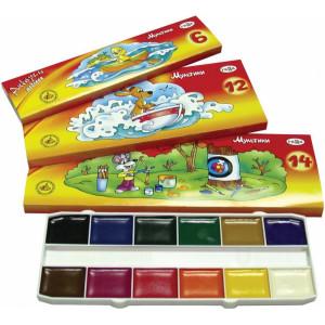 Краски акварельные (без кисти) Гамма Мультики, 6 цветов (211046)