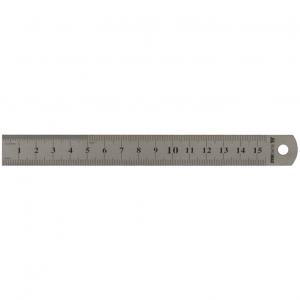 Линейка металлическая 15 см BuroMax (шкала в см и дюймах) (BM.5810-15)