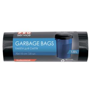 Мешки для мусора 120 л х 20 шт 70 х 110 см 21 мкм (LD) PRO Service черные/синие