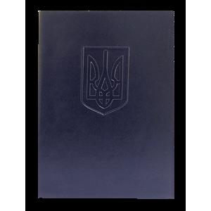 Папка До підпису винил под кожу (А4) Panta Plast Герб Украины темно-синяя (0309-0021-02)