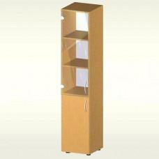 Пенал-шкаф для документов со стеклянной дверью и дверью из ДСП (350х347х1825) мм (БЮ516) светлый бук