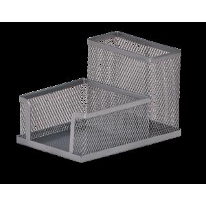 Подставка для канц принадлежностей настольная 2 отд BuroMax 100 х 150 х 90 мм металл серебро (BM.6242)
