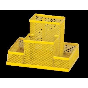 Подставка для канц принадлежностей настольная 4 отд ZIBI 150 х 100 х 100 мм металл желтая (ZB.3116-08)
