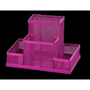 Подставка для канц принадлежностей настольная 4 отд ZIBI 150 х 100 х 100 мм металл розовая (ZB.3116-10)