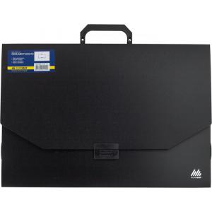 Портфель на застежке пластик 1 отд А3 Buromax 445 х 312 х 32 мм черный (BM.3725-01)