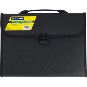 Портфель на застежке пластик 12 отд А4 Buromax 330 х 250 х 35 мм черный (BM.3751-01)