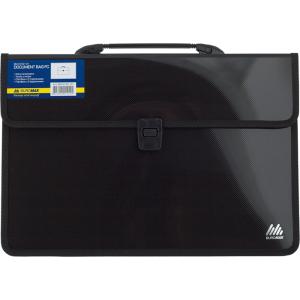 Портфель на застежке пластик 2 отд В4+ Buromax 385 х 265 х 120 мм черный (BM.3732-01)