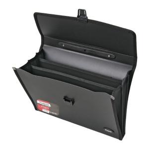 Портфель на застежке пластик 3 отд А4 Axent 332 х 260 х 40 мм черный (1601-01-A)