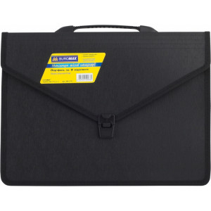 Портфель на застежке пластик 3 отд В4+ Buromax 385 х 280 х 120 мм черный (ВМ.3731)