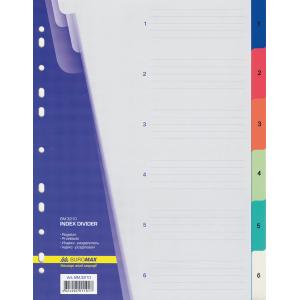Разделитель страниц пластик (цветной) (цифр 1-6) А4 Buromax (BM.3210)