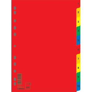 Разделитель страниц пластик (цветной) А4 10 разд Donau (7712095)
