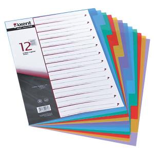 Разделитель страниц пластик (цветной) А4 12 разд Axent (1912-01-A)