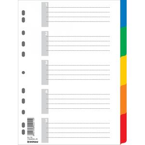 Разделитель страниц пластик (цветной) А4 5 разд Donau (7704095)
