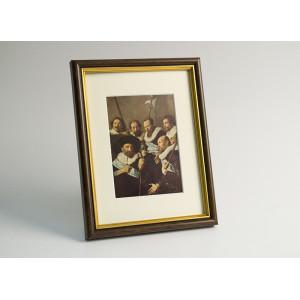 Рамка для фото настенная 10 х 15 см (пластик под дерево) с подставкой (941063)