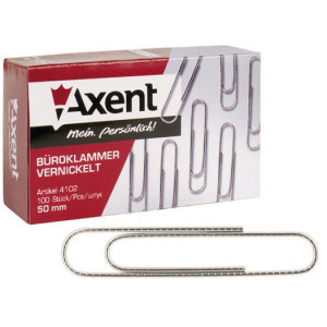 Скрепки канцелярские никелир закругл 50 мм Axent 100 шт/уп (4102-A)