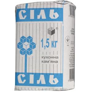 Соль поваренная каменная 1 сорт 1 помол (1,5 кг/пачка)