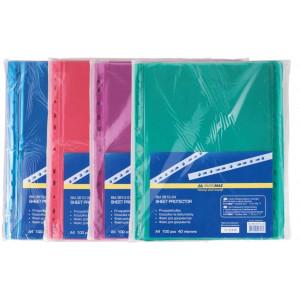 Файл глянцевый A4 40 мкм Buromax вертик европерф цветной (100 шт) (BM.3810-02)