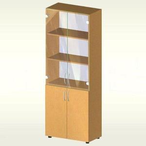 Шкаф для документов с дверцами из стекла и ДСП (700х347х1825) БЮ407 (бук Бавария)
