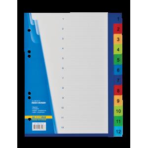 Разделитель страниц пластик (цветной) (цифр 1-12) А5 Buromax (BM.3213)