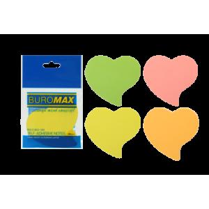 Блок стикеров 50 шт BuroMax неоновый, ассорти, фигурные сердце (BM.2362-99)
