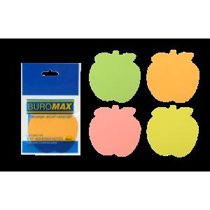 Блок стикеров 50 шт BuroMax неоновый, ассорти, фигурные яблоко (BM.2360-99)