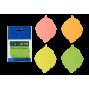 Блок стикеров 50 шт BuroMax неоновый, ассорти, фигурные листья (BM.2367-99)