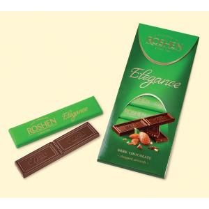 Шоколад Roshen Elegance, экстрачерный с дробленым миндалем, 100 гр