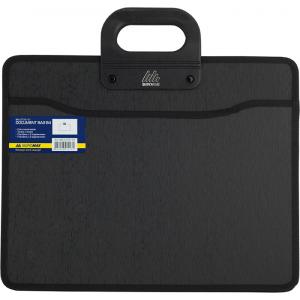Портфель на молнии пластик 2 отд B4 Buromax 390 х 318 х 130 мм 2 кармана черный (BM.3733-01)