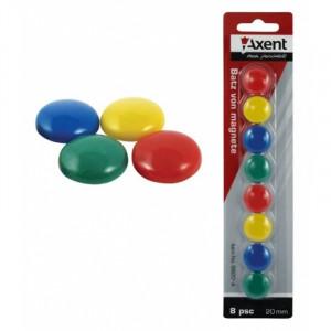 Магниты цветные круглые Axent d/20 мм х 8 шт (9820-A)