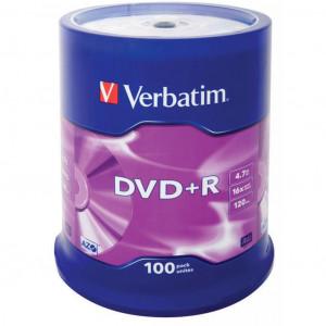Диск DVD+R 100 шт Cake box Verbatim, 4.7 GB/120 min 16x (43551)