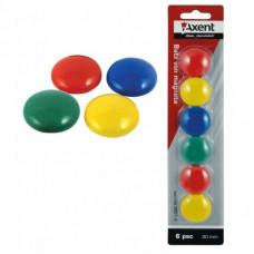 Магниты цветные круглые Axent d/30 мм х 6 шт. (9821-A)