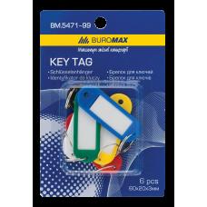 Брелок для ключей пластик со сменным индексом 60 х 21 х 3 мм 6 шт Buromax ассорти (ВМ.5471-99)