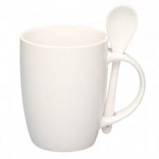 Чашка керамическая с ложкой 88210106 (300 мл) белая