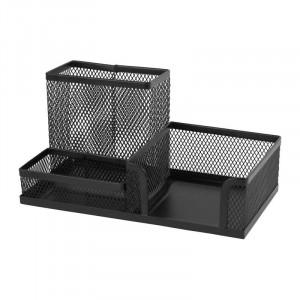 Подставка для канц принадлежностей настольная 3 отд Axent 203 х 105 х 100 мм металл черная (2116-01-A)