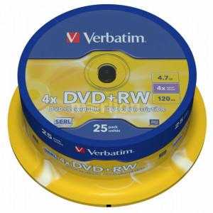 Диск DVD+RW 25 шт Cake box VERBATIM 4.7 GB/120 min 4x (43489)