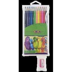 Карандаши цветные 12 цв х 12 шт + точилка SMOOTH в ПВХ пенале