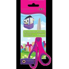 Ножницы детские 126 мм (пластик ручки с резиновыми вставками) розовые (ZB.5005-10)