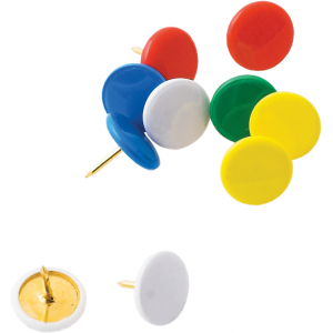 Кнопки канцелярские 100 шт цветные пласт.покр, пласт.контейнер Buromax (BM.5176)