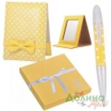 Набор подарочный Langres MONRO (ручка шариковая + зеркальце) желтый (LS.122036-08)